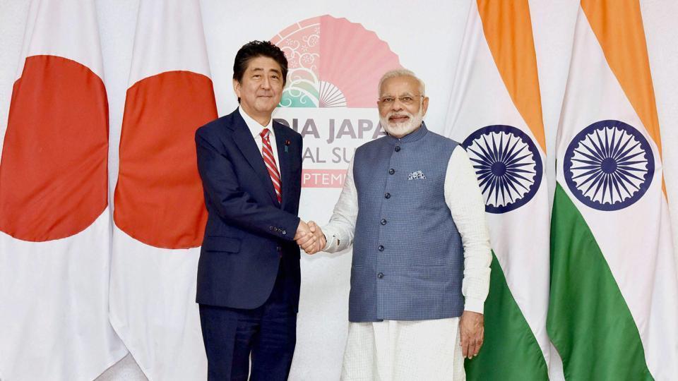 Prime Minister Narendra Modi and his Japanese counterpart Shinzo Abe during the India - Japan Annual Summit in Gandhinagar, Gujarat, 2017