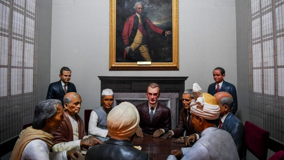 A rare painting of Robert Clive is displayed inside the Rashtrapati Bhavan museum in New Delhi. (Chandan Khanna / AFP)