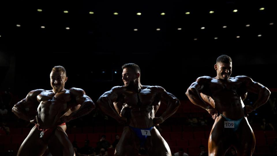 Contestants participate in the final round. Hanna, also a former Mr. Israel, says there has been growing interest in fitness and body building in Israel in recent years, and that turnout at this year's competition far exceeded expectations. (Oded Balilty / AP)