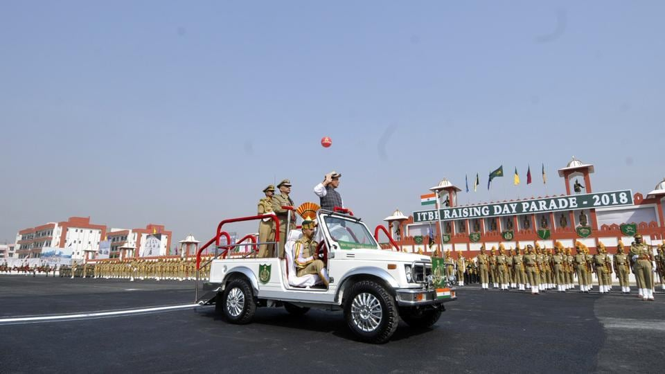 Union Home Minister Rajnath Singh inspects the Guard of Honour during the 57th ITBP Raising Day Parade, in Greater Noida, Uttar Pradesh. (Sunil Ghosh / HT Photo)