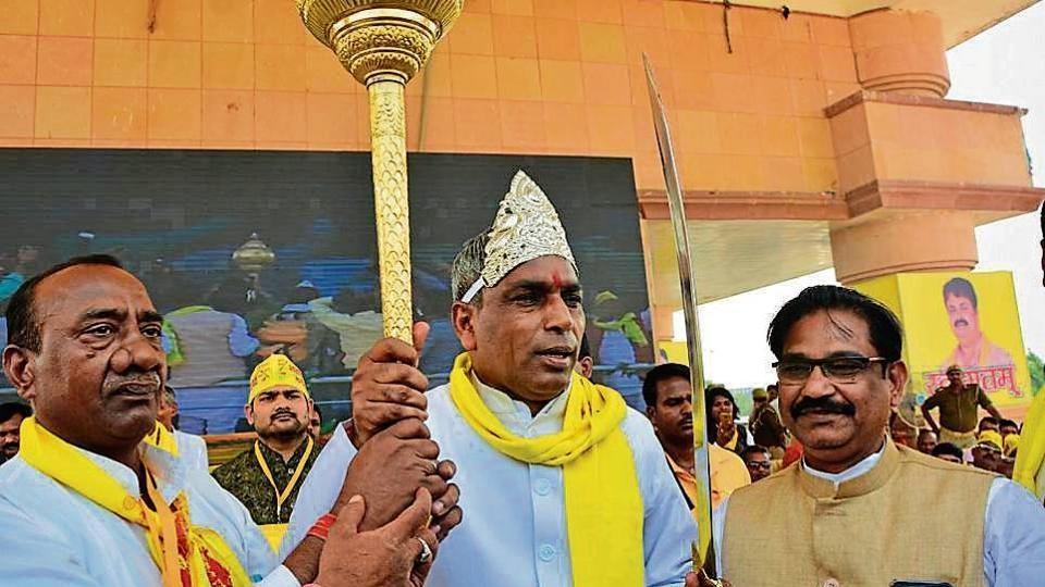 Suheldev Bharatiya Samaj Party (SBSP) chief and UP cabinet minister Om Prakash Rajbhar at his party's 16th foundation day rally in Lucknow on Saturday.