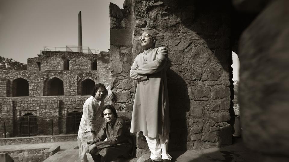 The khalifa of the Dilli Gharana, Iqbal Ahmed Khan (right) with his cousins, vocalist Imran Khan  and Tanveer Khan in Delhi.