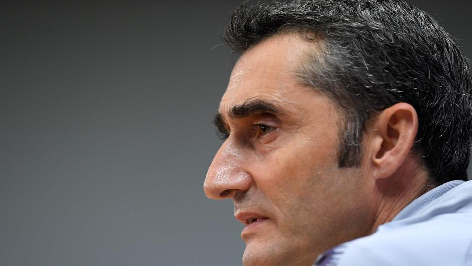 Barcelona's Spanish coach Ernesto Valverde holds a press conference at the FC Barcelona's Joan Gamper Sports Center in Sant Joan Despi, on October 27, 2018 on the eve of the Spanish League
