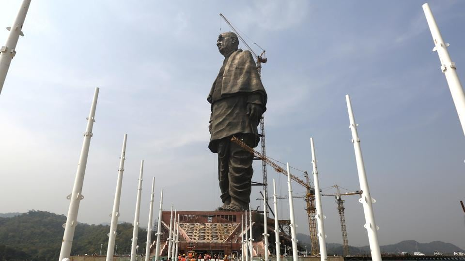 The under construction statue of unity stands facing Sardar Sarovar Dam is seen at Kevadiya Colony, about 200 km from Ahmedabad on October 18.