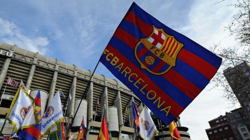 File picture of an FC Barcelona flag
