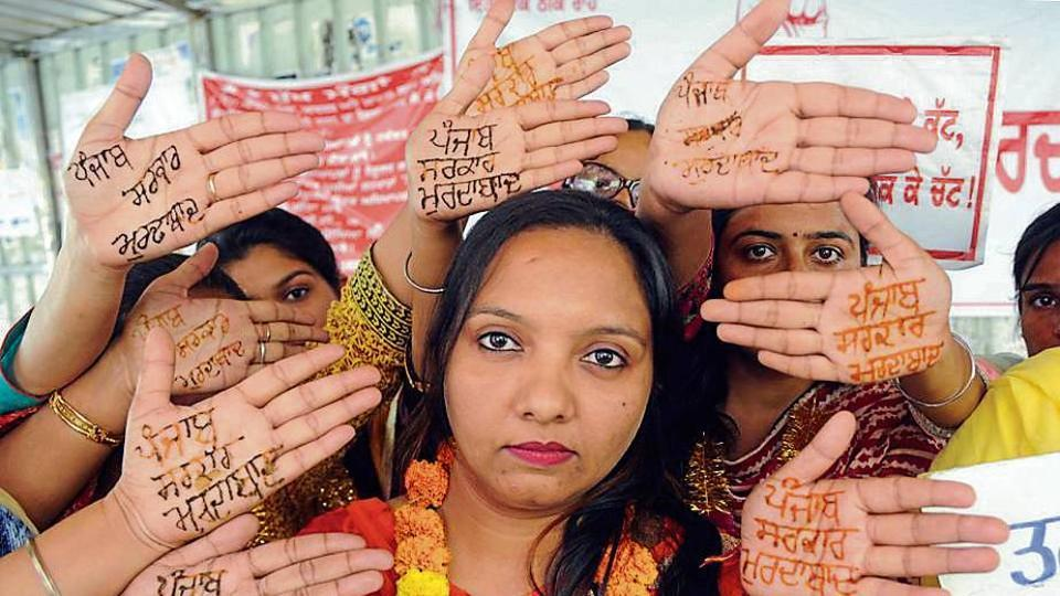 Women teachers during a protest in Patiala on Saturday.