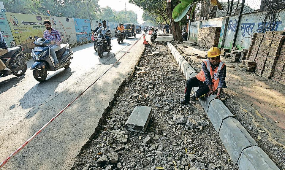 Activists and road experts are not happy with reduction in the size of the footpaths as seen here at Raja Rao Bahadur mills road, where footpath size has decreased