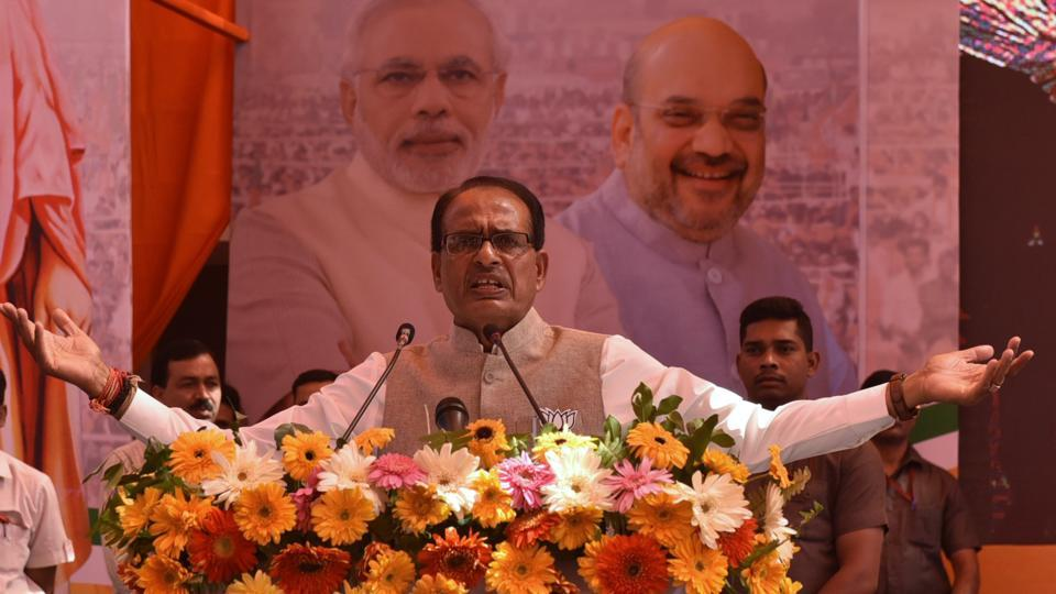 Madhya Pradesh chief minister Shivraj Singh Chouhan addresses youths at a BJP Town hall meeting at Ravindra Bhawan in Bhopal on Sunday.