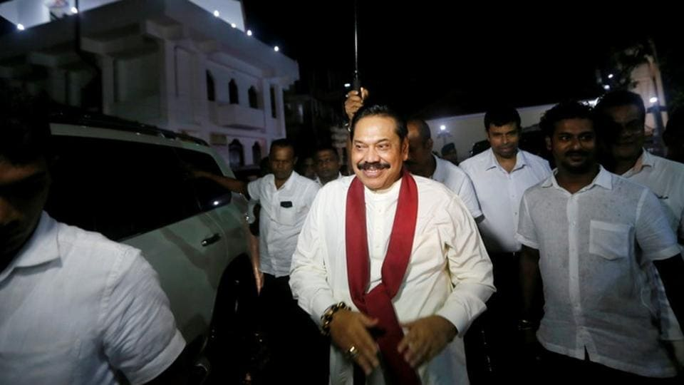 Sri Lanka's former president Mahinda Rajapaksa at a temple after being sworn in as the new prime minister in Colombo, Sri Lanka on October 26, 2018.