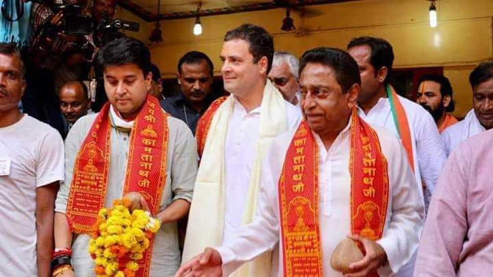 Congress president Rahul Gandhi with party leaders Kamal Nath and Jyotiraditya Scindia in Chitrakoot in Madhya Pradesh.