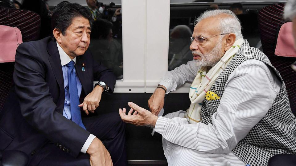 Prime Minister Narendra Modi with his Japanese counterpart Shinzo Abe depart for Tokyo by Express Train Kaiji, in Yamanashi, Japan.