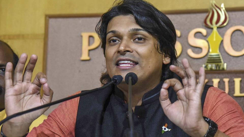 Ayyappa Dharma Sena president Rahul Easwar at a press meet against the Supreme Court verdict permitting women of all ages to enter Sabarimala temple, in Kochi on  October 6, 2018.