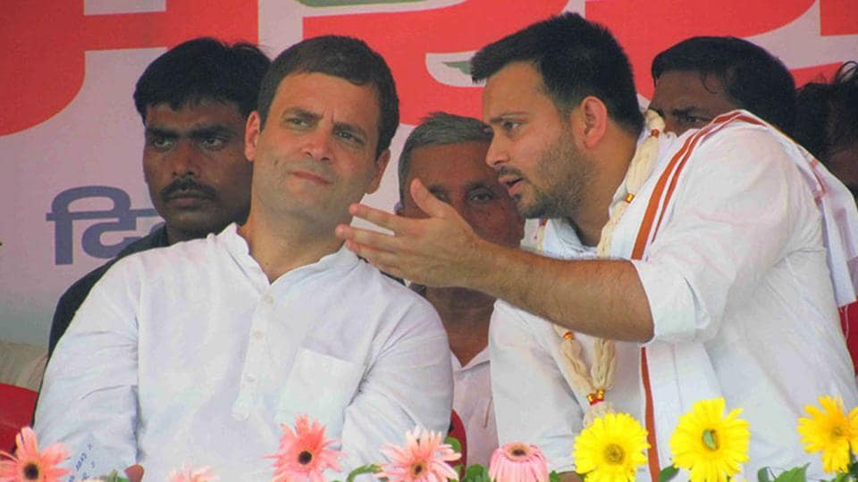 Congress president Rahul Gandhi with Lalu Prasad's son and RJD vice-president Tejaswi Yadav.