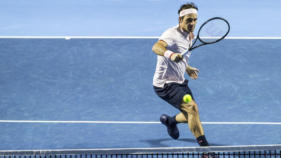Roger Federer in action at the Swiss Indoors tennis tournament at the St. Jakobshalle in Basel.