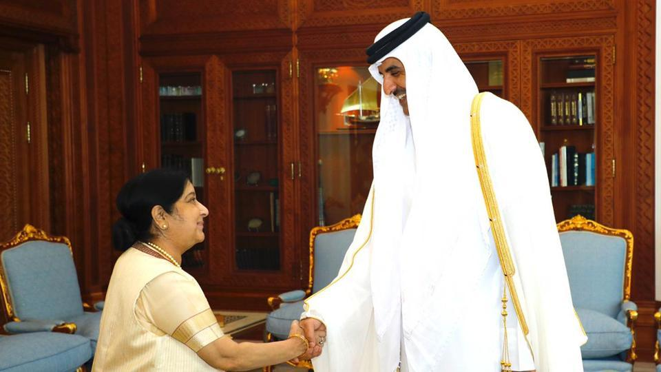 External Affairs Minister Sushma Swaraj on Monday met Emir of Qatar Sheikh Tamim Bin Hamad Al-Thani and discussed ways to move forward on the roadmap set by the top leaders of the two countries.