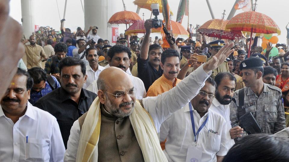 BJP national president Amit Shah in Kannur on Saturday.