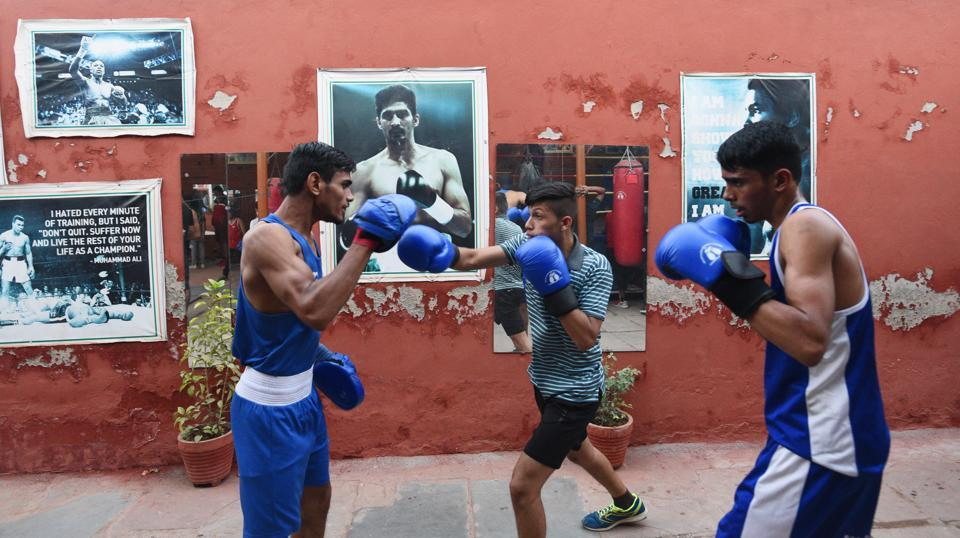 Samaspur and Dhansa are among other villages that have boxing academies, complete with boxing rings. And many academies have produced boxers who have participated in national and international championships.  But Brij Mohan says that nowhere in the city is the craze for boxing as intense as in Najafgarh. (Vipin Kumar / HT Photo)