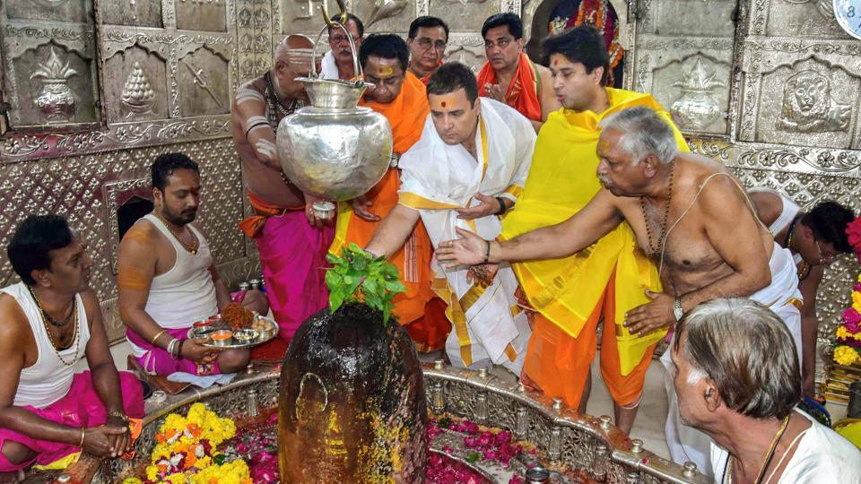 Congress President Rahul Gandhi offer prayers with Madhya Pradesh Congress chief Kamal Nath and the party's state campaign committee chairman Jyotiraditya Scindia at Mahakaleshwar temple during his two-day tour to Malwa-Nimar region, in Ujjain. (PTI)
