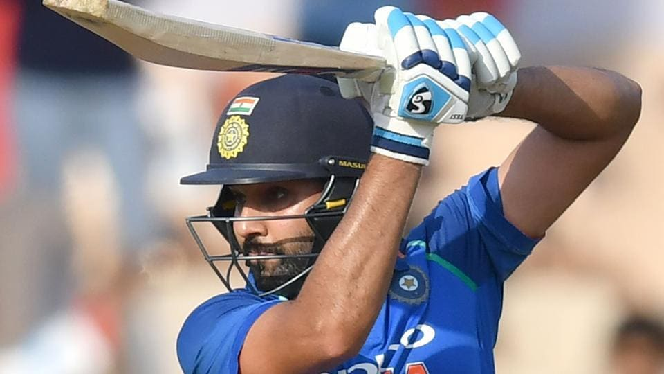 Rohit Sharma plays a shot during the fourth one day international (ODI) cricket match between India and West Indies.