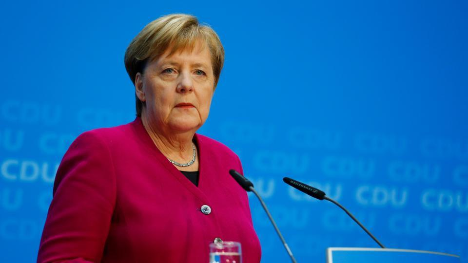 German Chancellor Angela Merkel attends a news conference following the Hesse state election in Berlin.