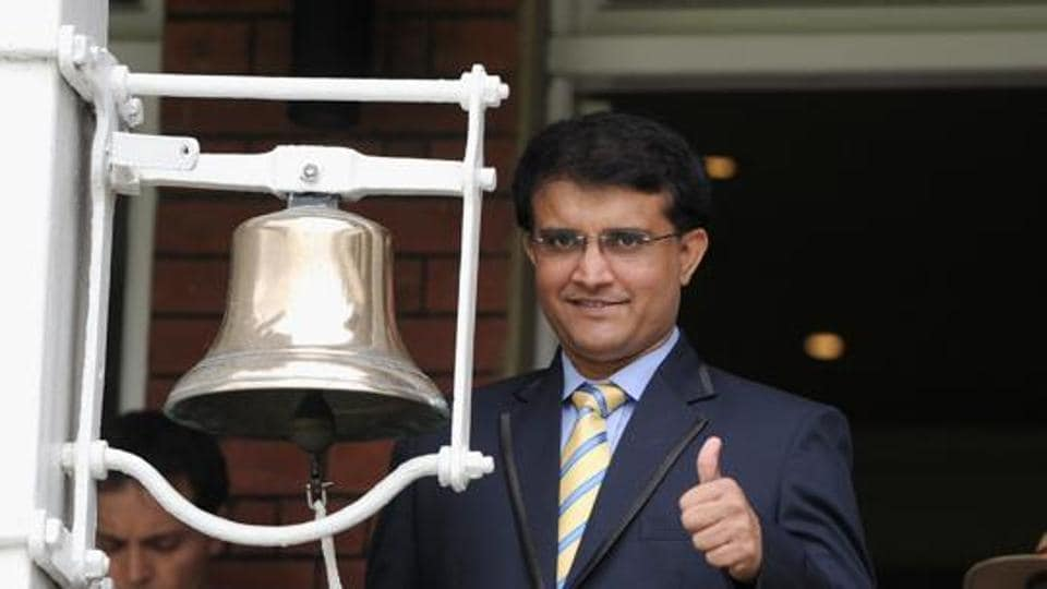 Former Indian batsman Sourav Ganguly rings the five minute bell ahead of day five of 2nd Investec Test match between England and India at Lord's Cricket Ground on July 21, 2014 in London, United Kingdom.