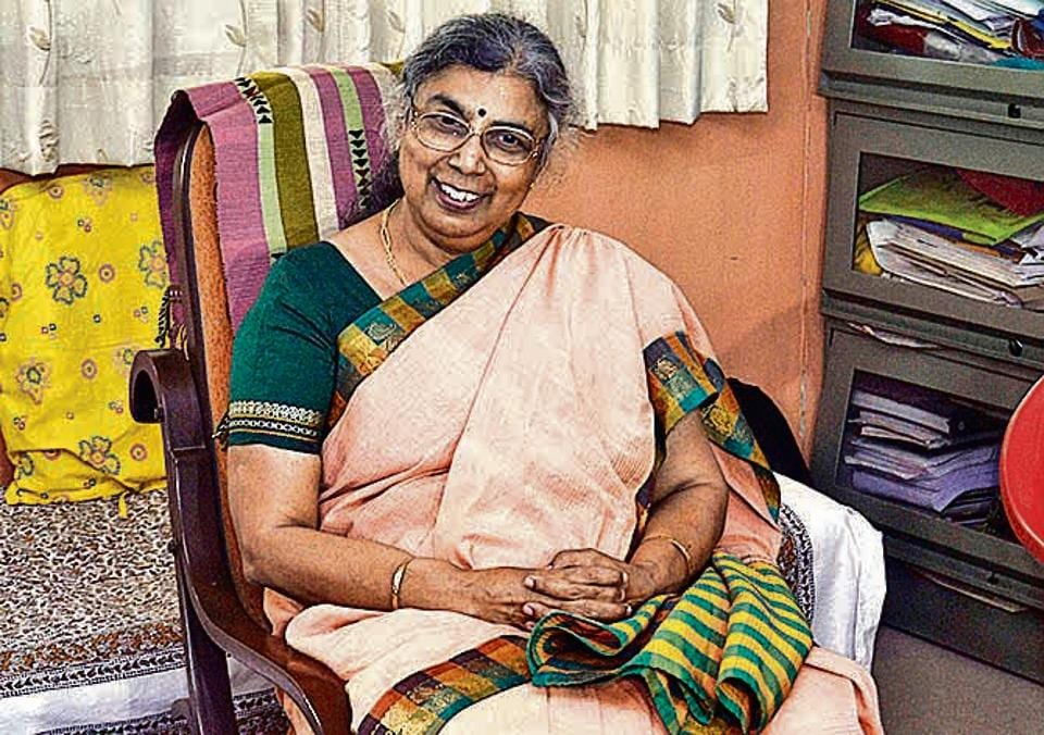 Sahitya Sammelan president ,Aruna Dhere at her residence  in Pune, India