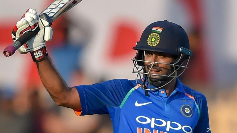 Mumbai: Indian batsman Ambati Rayudu celebrates his century during the 4th ODI cricket match against West Indies at Brabourne Stadium.