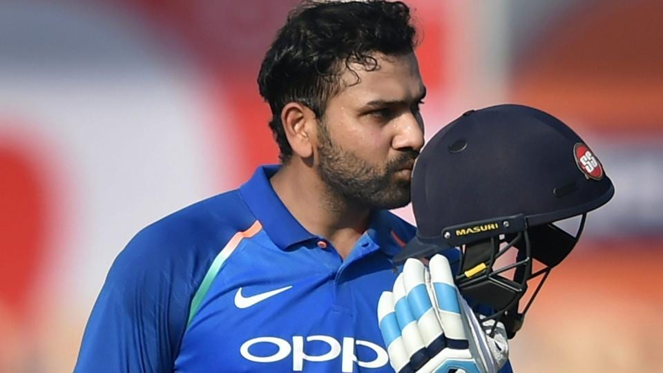 Rohit Sharma celebrates his century during the 4th ODI cricket match against West Indies.