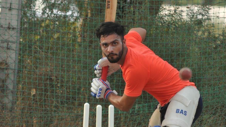 File photo of Mandeep Singh during net practice.