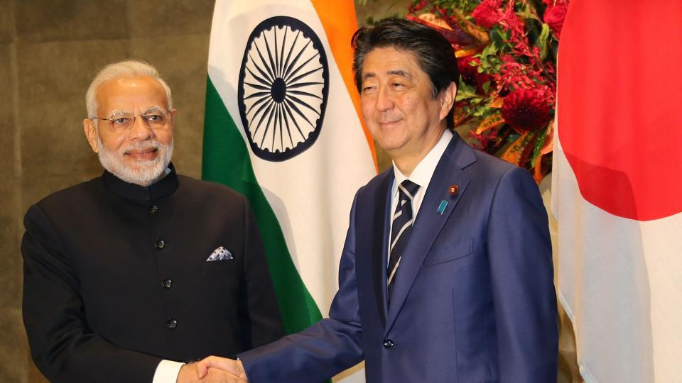 Prime Minister Narendra Modi and Japan's Prime Minister Shinzo Abe before their meeting at Abe's official residence in Tokyo on October 29, 2018.