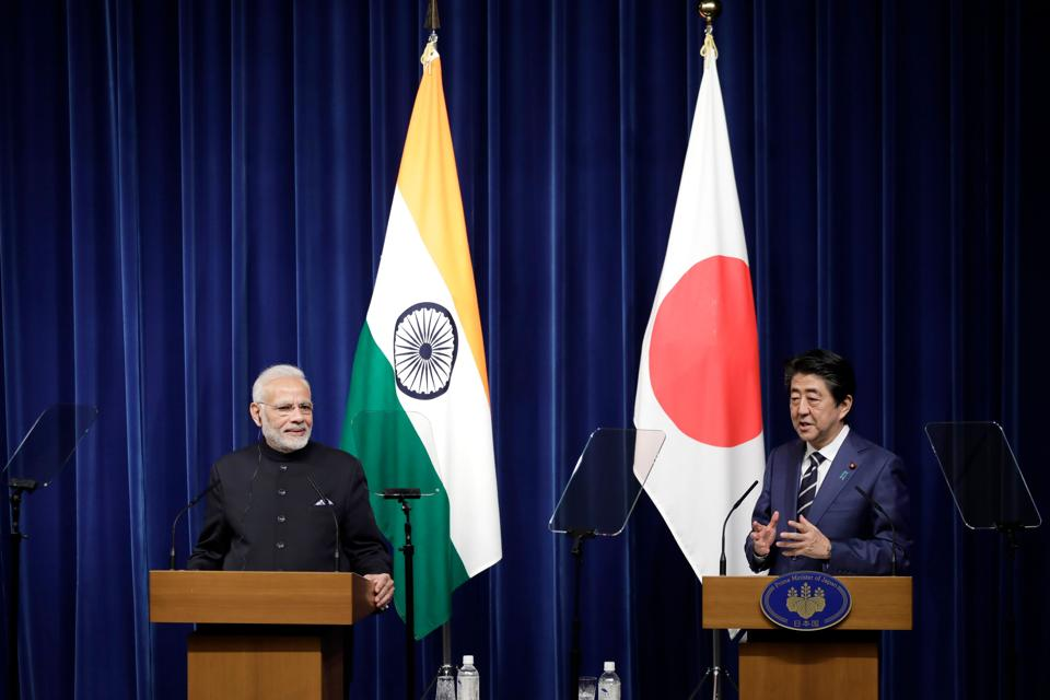 Prime Minister Narendra Modi and Japan's Prime Minister Shinzo Abe attend a joint news conference at Abe's official residence in Tokyo on October 29, 2018.
