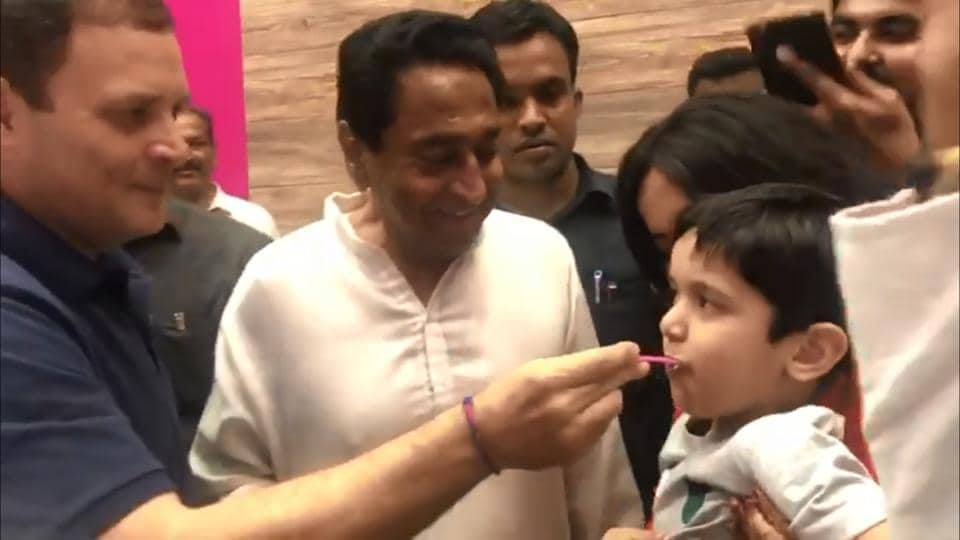 """""""And guess who became the kid's favourite person today,"""" says the caption on the Instagram story put out by the Congress."""