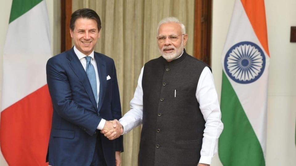 Prime Minister Narendra Modi with his Italian conterpart Giuseppe Conte at Hyderabad House in New Delhi on October 30.