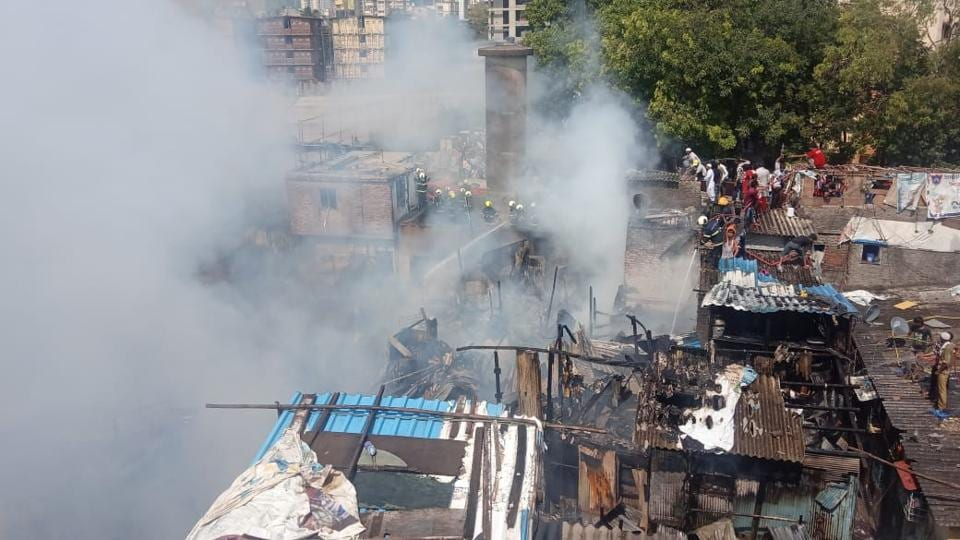 Major fire breaks out at the Lalmati slum near Bandra West, nearly 70 houses were gutted in fire.