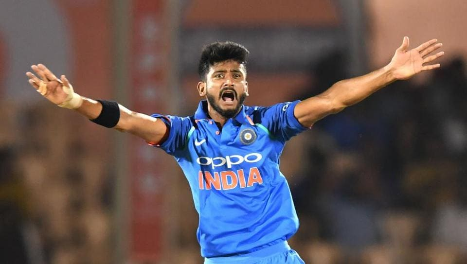 India bowler Khaleel Ahmed unsuccessfully appeals for a wicket during the fourth one day international (ODI) cricket match between India and West Indies at the Brabourne Stadium