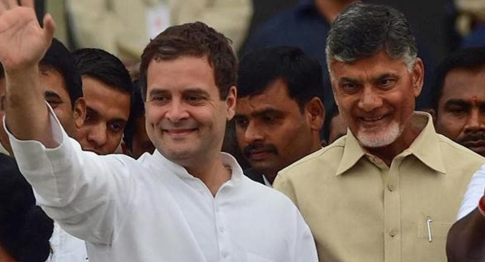 The Congress which has tied with the Telugu Desam Party of Andhra Pradesh chief minister Chandrababu Naidu (left) for the Telangana assembly polls is confidence of winning the state (File photo)