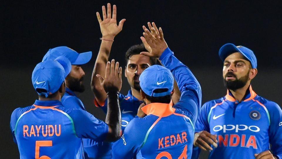 Mumbai: Indian players celebrate the dismissal of West Indies' batsman Chandrapaul Hemraj during the 4th ODI cricket match at Brabourne Stadium, in Mumbai, Monday, Oct 29, 2018.