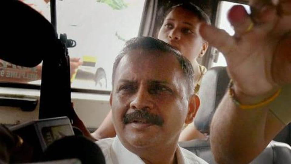Lt Col Shrikant Prasad Purohit being taken to the Sessions Court from Taloja Jail in Navi Mumbai.