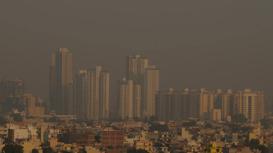 A view of Gurugram's skyline engulfed in smog and air pollution,  on Monday, October 29, 2018.