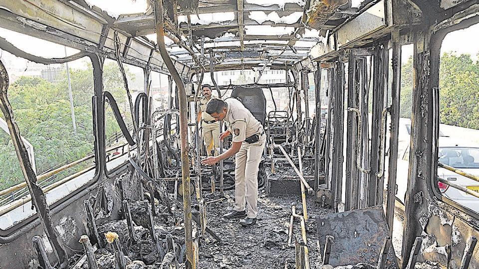 Pune,PMPML,bus caught fire