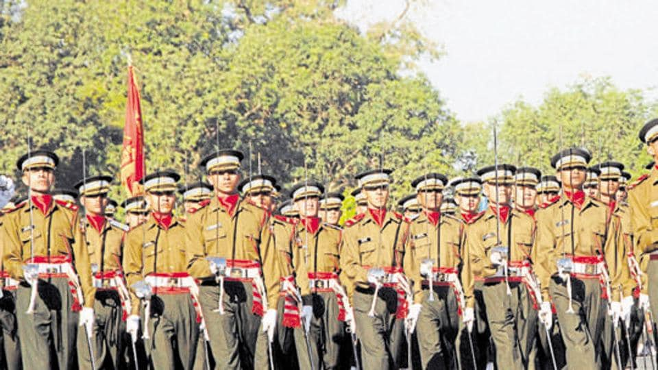 Gentlemen Cadets marching in front of the Chetwood building at IMA in Dehradun, India.