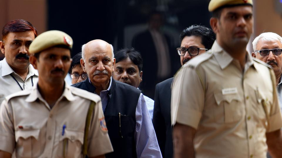 Former Union minister MJ Akbar at Patiala house court for a hearing in the sexual harassment case filed against him in New Delhi. Akbar had stepped down as the minister of state for external affairs after a number of women accused him of sexual harassment and inappropriate behaviour at various stages of his journalistic career. (Amal KS / HT Photo)