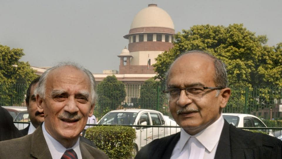 Senior lawyer Prashant Bhushan with former union minister Arun Shourie after a hearing on Rafale deal, at Supreme Court in New Delhi. The Supreme Court directed that the National Democratic Alliance (NDA) government provide within 10 days pricing details of the 36 Rafale fighter jets bought from France. (PTI)