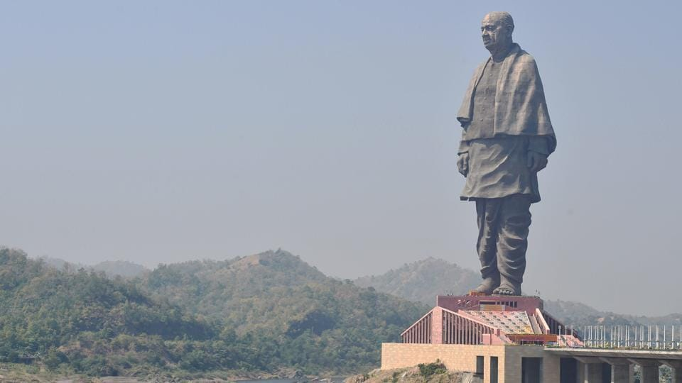 A view of the Statue of Unity at Kevadiya colony in Gujarat's Narmada district. Prime Minister Narendra Modi today unveiled the 182-metre statue on the birth anniversary of Sardar Vallabhbhai Patel. The statue is almost double the height of the Statue of Liberty in New York. (Santosh Hirlekar / PTI)