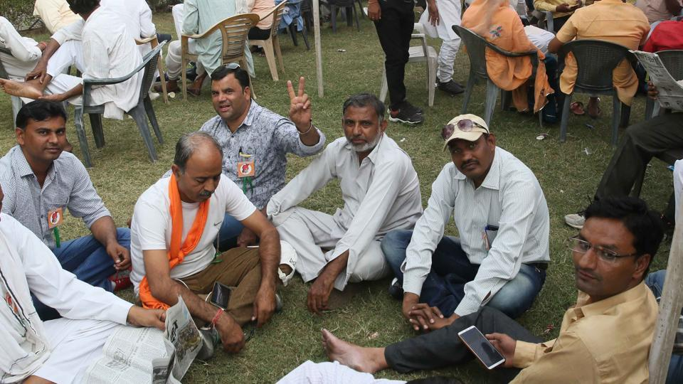 Ticket seekers for upcoming assembly polls in Rajasthan along with their supporters wait to meet BJP leaders at the party office, in Jaipur, on Tuesday October 30, 2018.