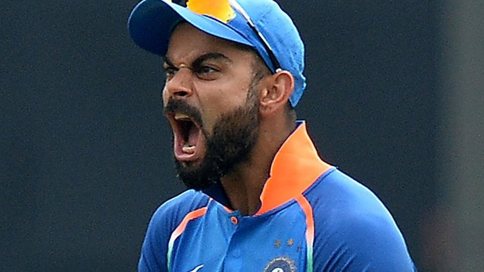 Indian team captain Virat Kohli reacts during the fifth one day international (ODI) cricket match between India and West Indies at the Greenfield International Stadium in Thiruvananthapuram.