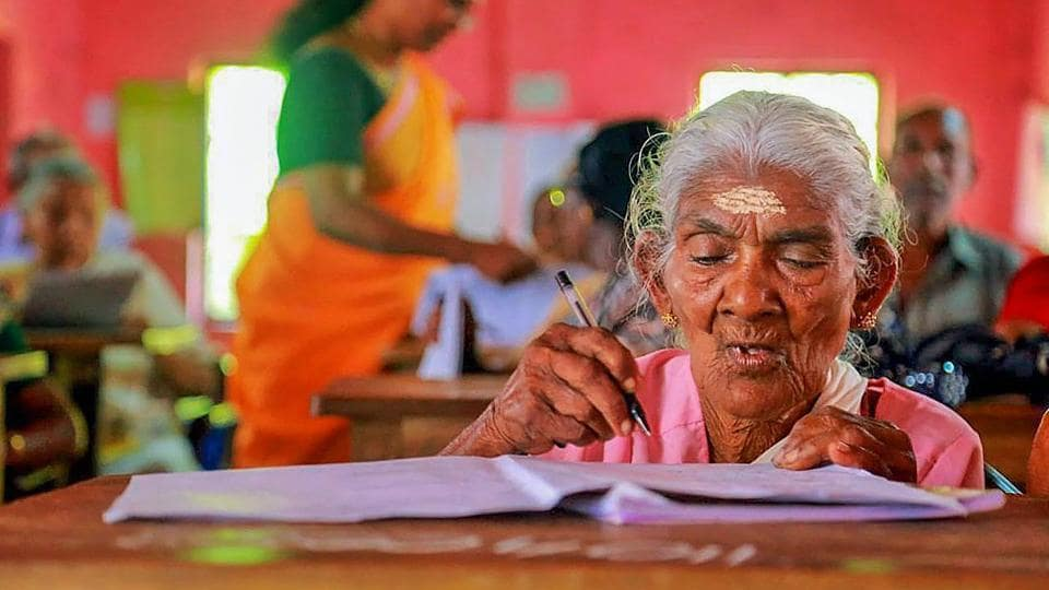 """Karthyayani Amma, the oldest candidate who appeared for the """"Aksharalaksham"""" programme of the state-run Kerala State Literacy Mission Authority, has scored 98 marks out of 100. """"Saw children studying and got inspired, never got opportunity when young otherwise would have become government official. Now want to learn computers,"""" the 96-year-old told news agency ANI. (PTI File)"""