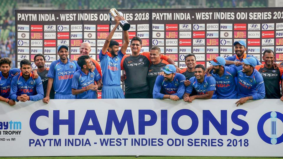 Thiruvananthapuram: Indian Cricket team poses with the trophy after winning the 5th and final ODI cricket match against West Indies, at Greenfield International Stadium in Thiruvananthapuram, Thursday, Nov. 01, 2018. (PTI Photo/R Senthil Kumar)(PTI11_1_2018_000211A) (PTI)