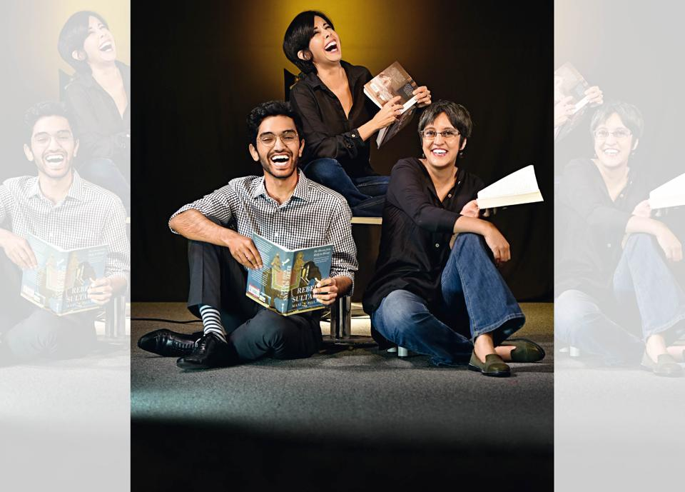 """(From left) Manu S. Pillai, 28, is a popular columnist in Mint Lounge and his newest book, Rebel Sultans: The Deccan from Khilji to Shivaji is topping charts; Ira Mukhoty, 48, is a powerful voice for women. Her second book on Mughal Women has been recognised by all as a """"sumptuous read"""" ; Parvati Sharma, 40, wrote The Story of Babur lavishly illustrated with Mughal miniature style paintings, and impressed children and adults alike. Art direction: Veenu Singh. Make-up and hair: Aashmeen Munjaal's Star Salon n Academy"""