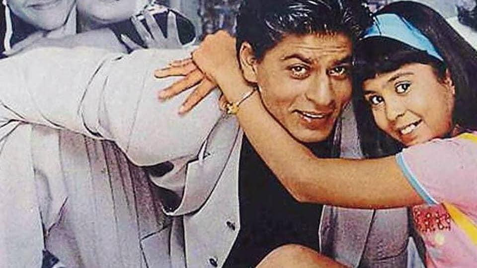 Shah Rukh Khan with Sana Saeed in a still from Kuch Kuch Hota Hai (1998).